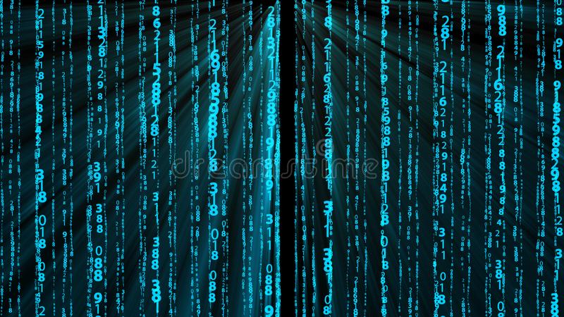 Many numbers, digital data and rays, abstract technology 3d render background, computer generated, for technology or stock photo