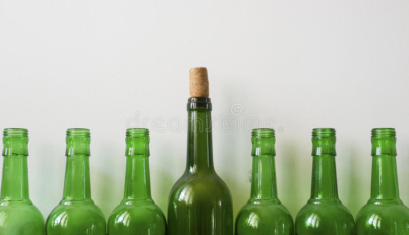 Many old bottles stock images
