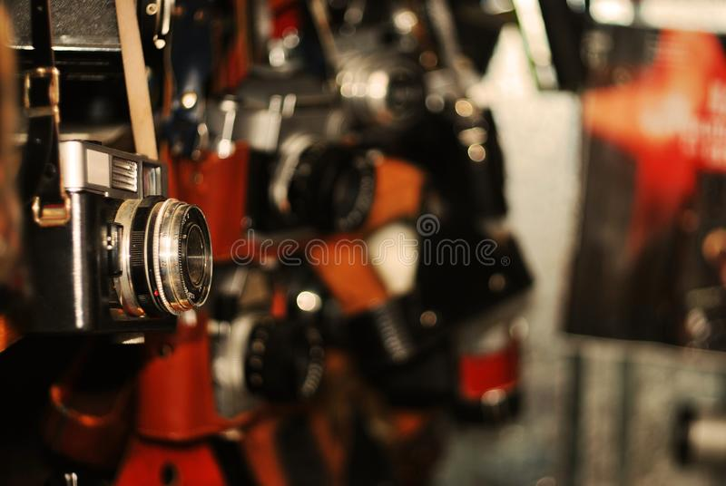 Many old cameras. For sale stock image