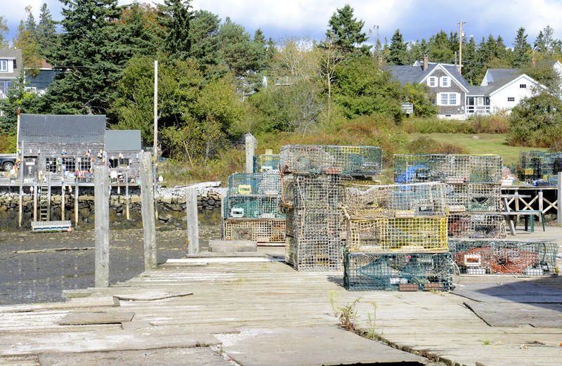 Many old lobster cages stock photo