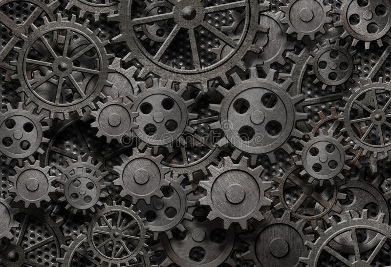 Many old rusty metal gears background stock photos