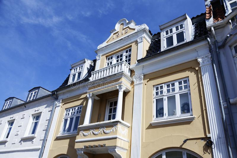 Many old white and yellow stone houses stock photography