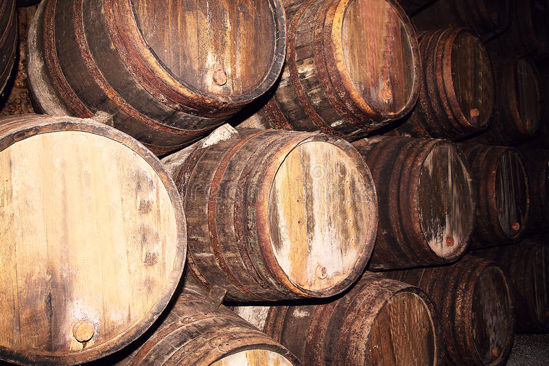 Download Many Old Wood Barrels On A Wine Factory Stock Photo - Image: 83711984