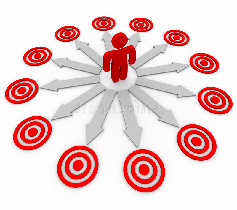 Many Opportunities are Targeted - Man and Arrows stock illustration