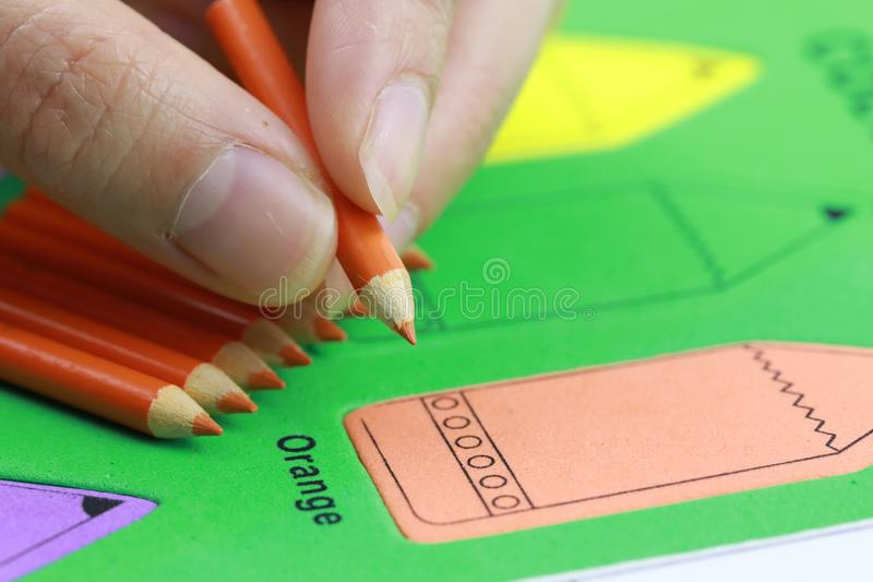 woman hand orange pencil crayon royalty free stock photos