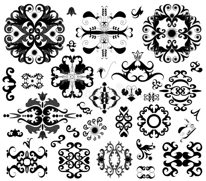 Download Many ornament elements stock vector. Image of pattern - 4249330