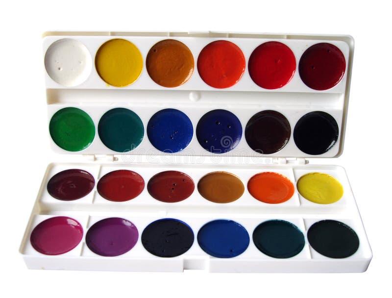 Many paint jars on white royalty free stock image