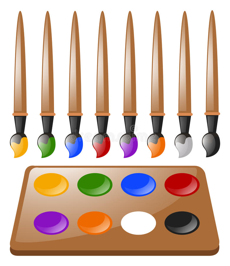 Many paintbrushes and color palette stock illustration