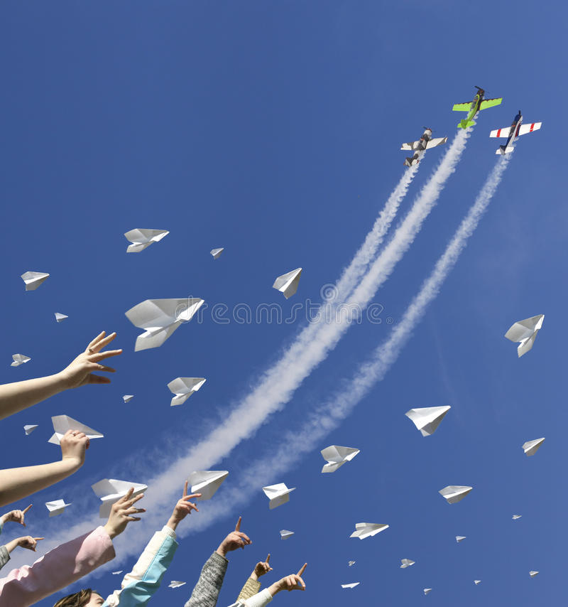 Many paper plane in sky royalty free stock photography