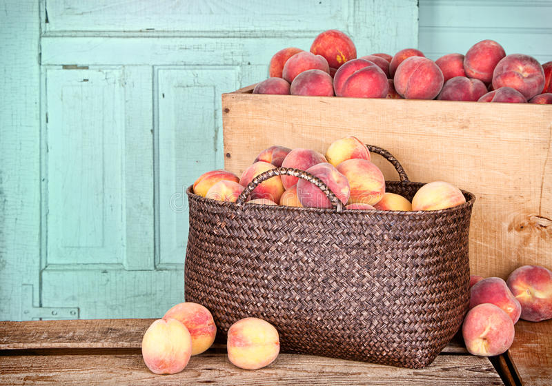 Download Many Peaches In Wooden Crate And Basket Stock Photo - Image: 26612102