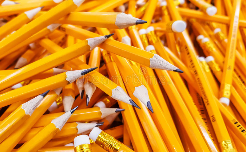Many pencils piled in a big pile royalty free stock images