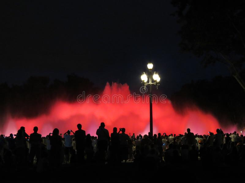 Many people enjoy the show of singing fountains, Barcelona royalty free stock photo