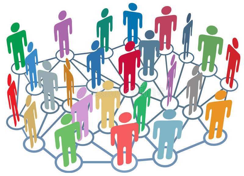 Many people group talk network social media stock image