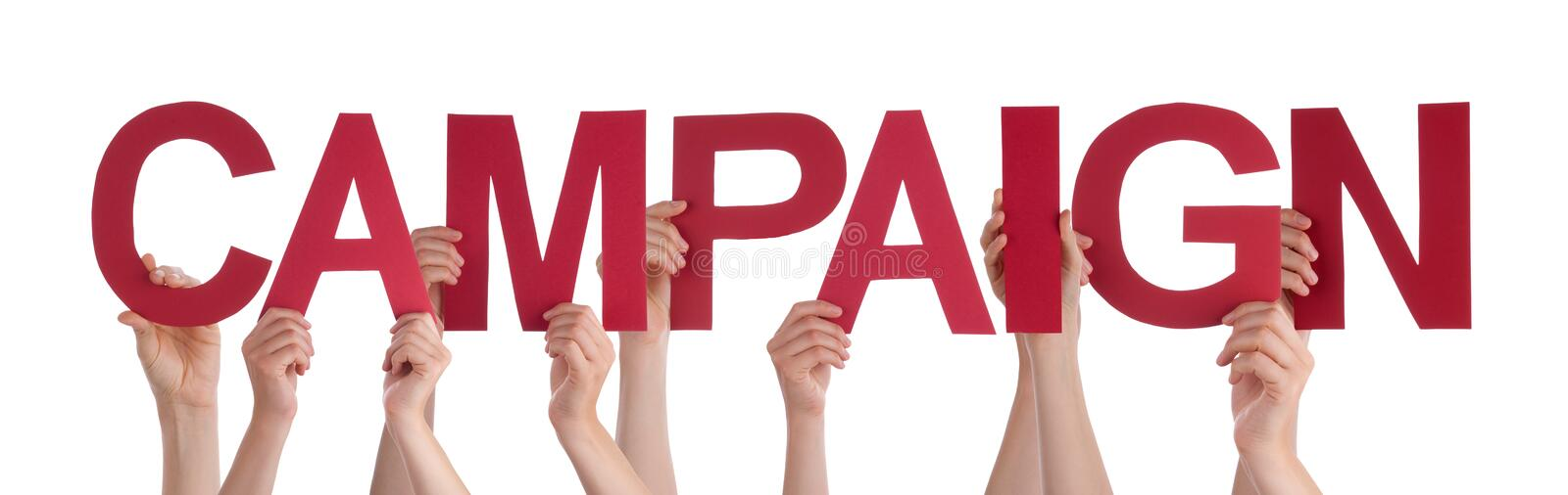 Many People Hands Holding Red Straight Word Campaign royalty free stock photography