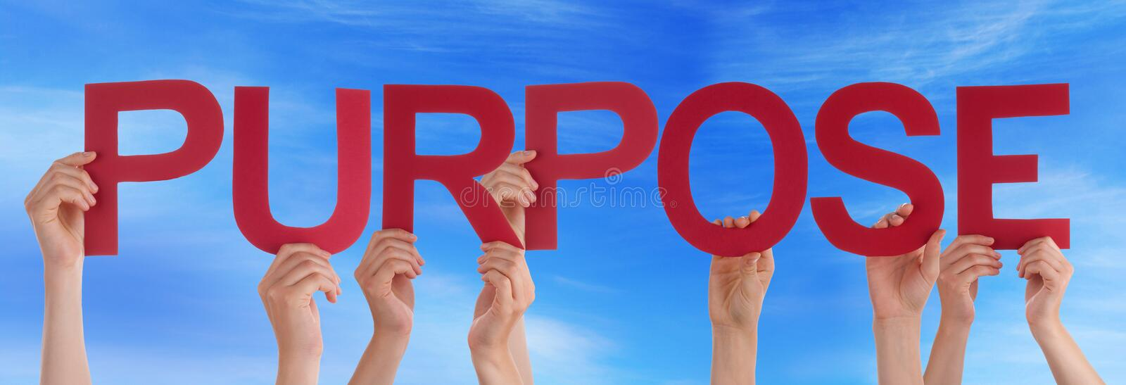 Many People Hands Holding Red Straight Word Purpose Blue Sky stock images