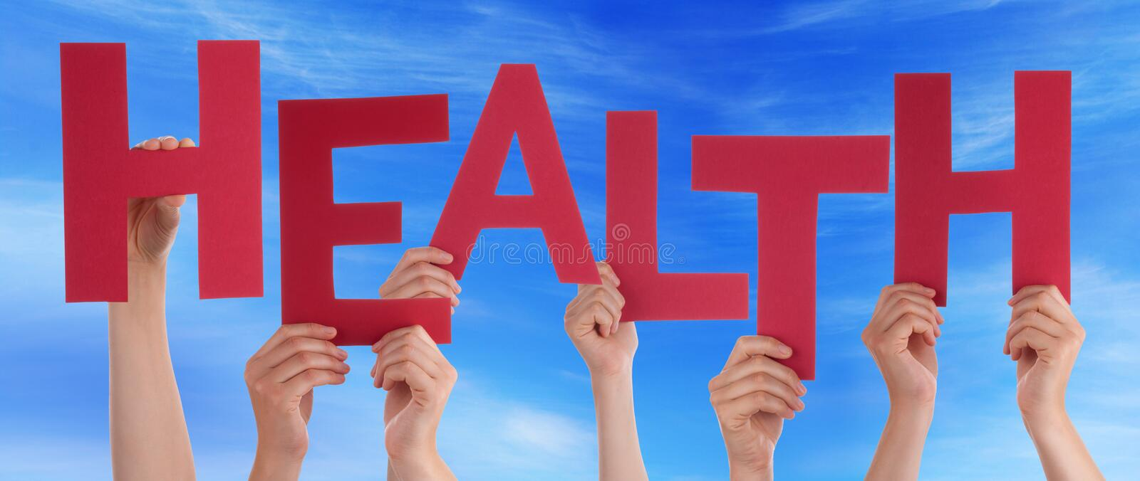 Many People Hands Holding Red Word Health Blue Sky stock photo