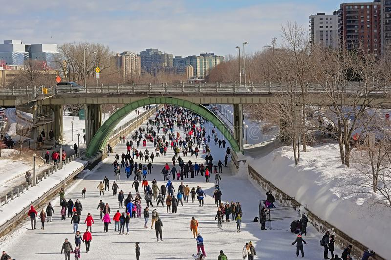 Many people ice skating on rideau canal skateway during the winterlude festival in Ottawa stock photography