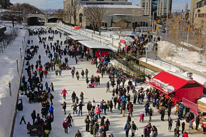 Many people ice skating on rideau canal skateway during the winterlude festival in Ottawa stock image