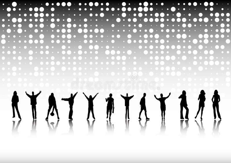 Many people silhouettes stock photography