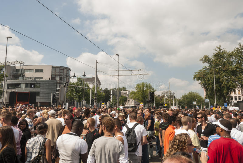 Many people on the street during event. Crowd people on the street during dance event in the summer stock photography