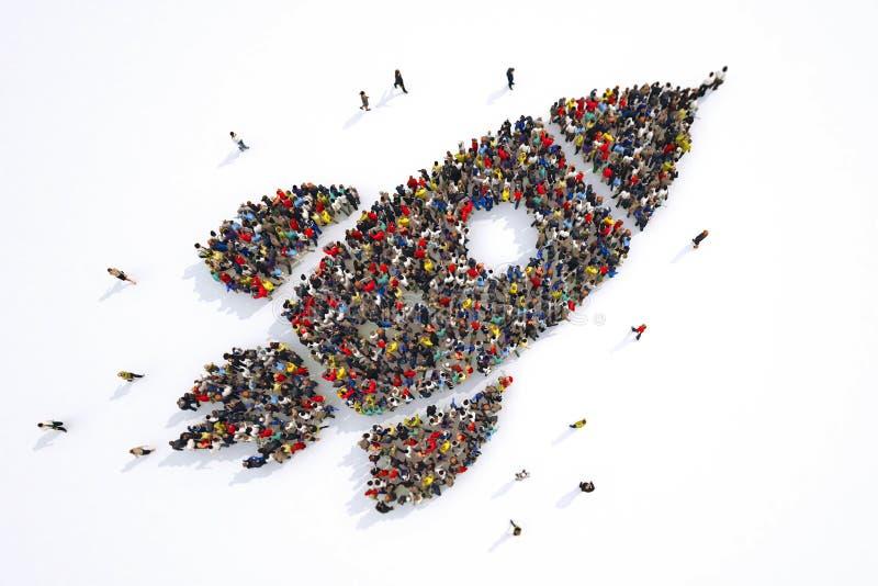 Many people together in a rocket shape. 3D Rendering. Rocket flying upwards. Concept of startup economy. 3D Rendering stock illustration