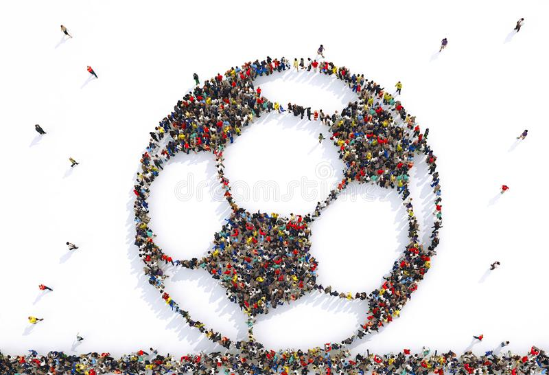 Many people together in a soccer ball shape. 3D Rendering. Football fans together in a ball shape. 3D Rendering stock illustration