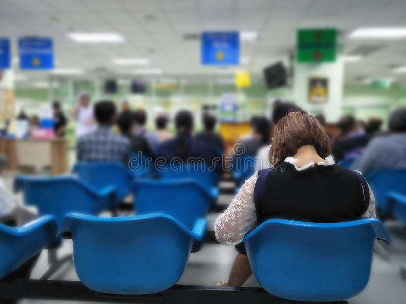 Many people waiting medical and health services to the hospital,patients waiting treatment at the hospital stock images
