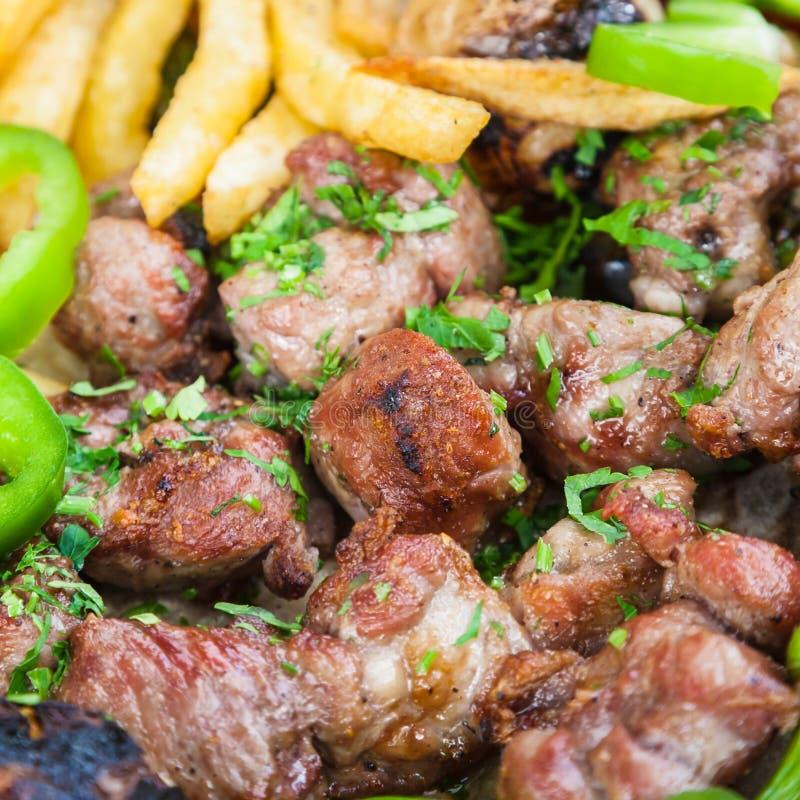 Many pieces of arabian lamb kebab close up stock image