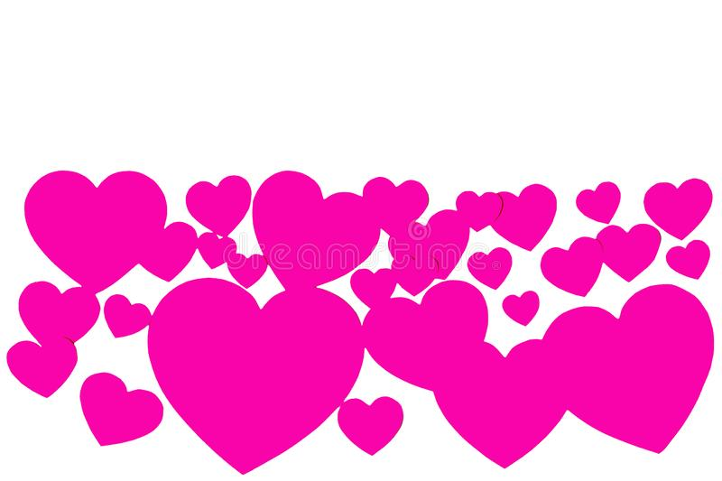Many pink paper hearts in form of decorative frame on white background with copy space. Symbol of love and Valentine`s day royalty free illustration