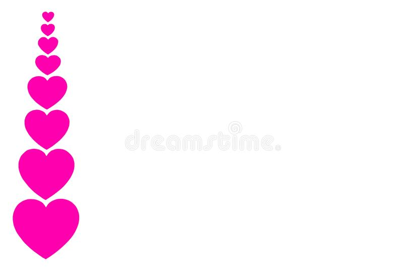 Many pink paper hearts in line in form of decorative frame on white background with copy space. Symbol of love and Valentine`s da. Isolated many pink paper stock image