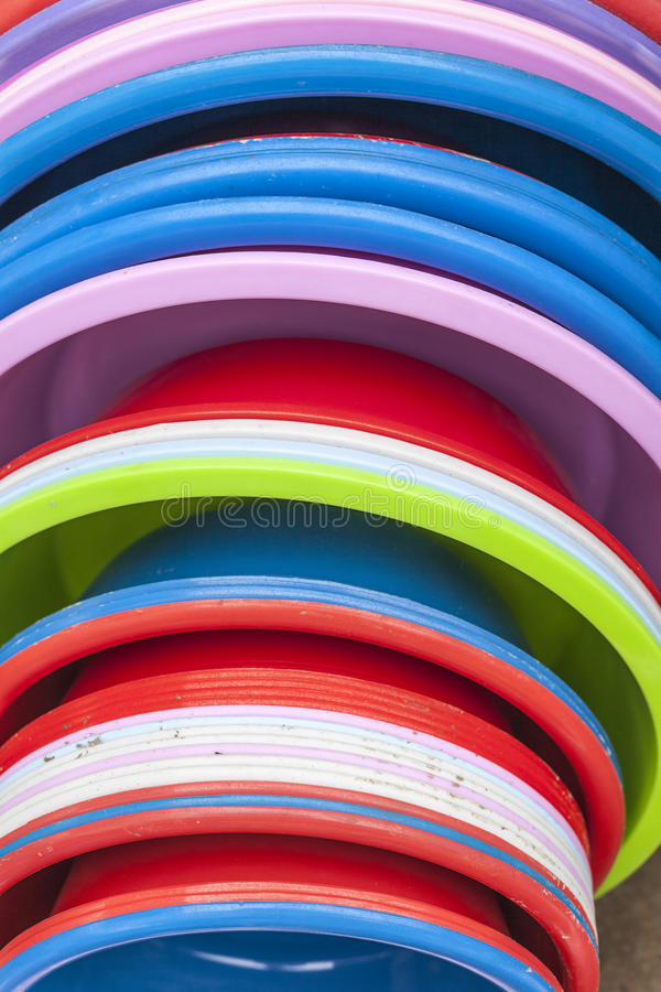 Download Plastic Basins In Many Colors Stock Photo - Image: 30246320