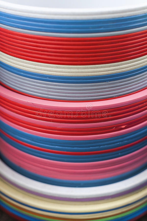 Download Plastic Basins In Many Colors Stock Photo - Image: 30246346