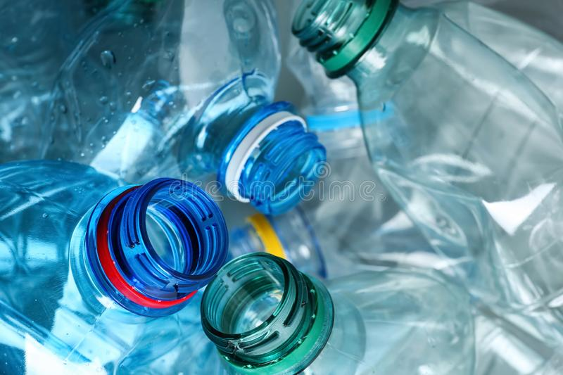 Many plastic bottles as background, closeup royalty free stock photography