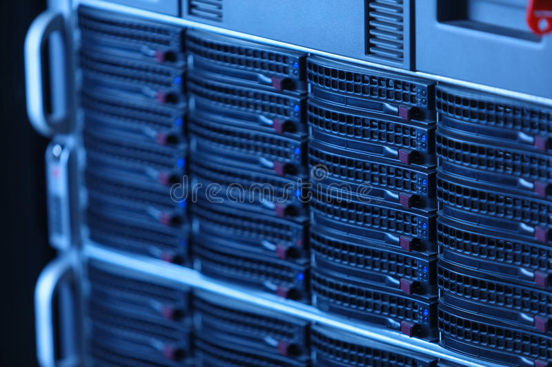Many powerful servers running in the data center server room royalty free stock photos