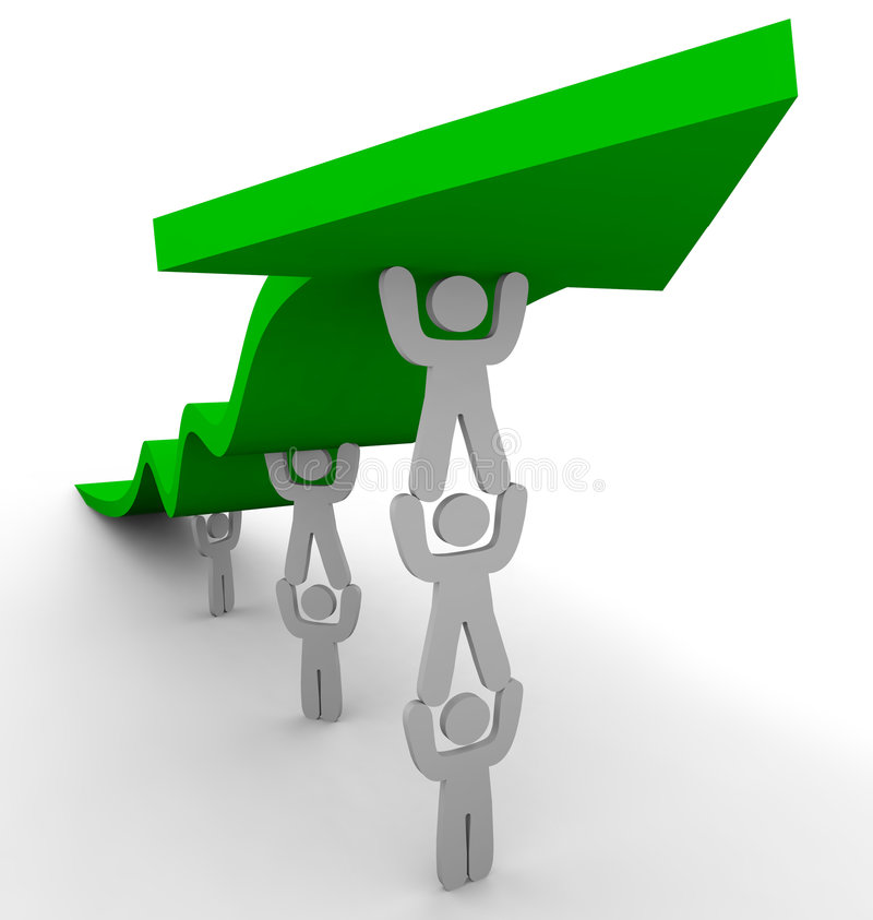 Many Pushing Up Green Arrow. Several figures team up to push up a green arrow, symbolizing teamwork and growth vector illustration