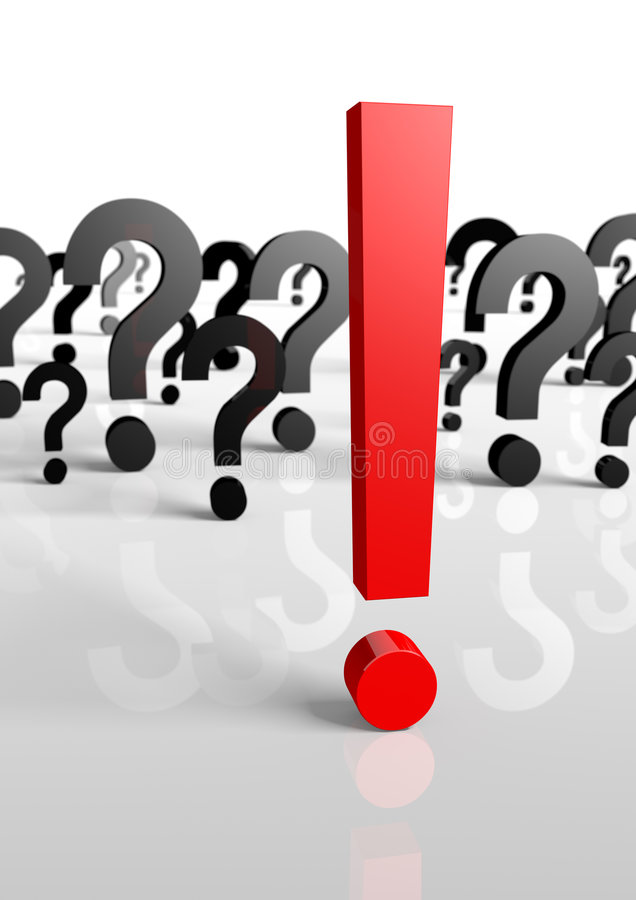 Many Questions, Only One Exclamation Mark! 3d Royalty Free Stock Image