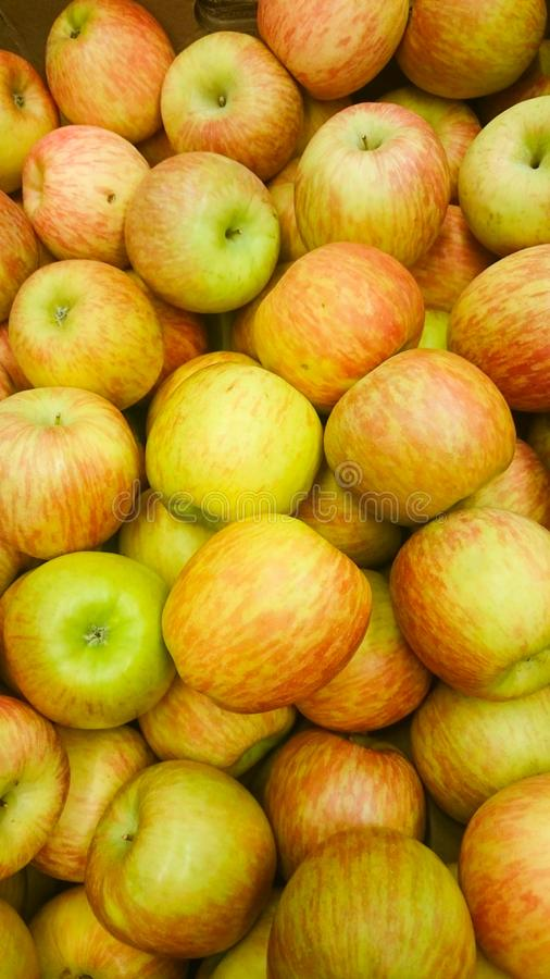 Many red apples in mall on sale closeup shot natural color image. stock photo