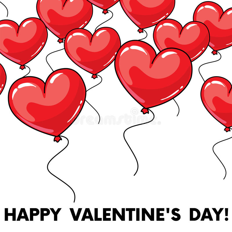 Many red balloons in the shape of a heart. Balls in the sky. Vector illustration. St. Valentine`s Day. royalty free illustration
