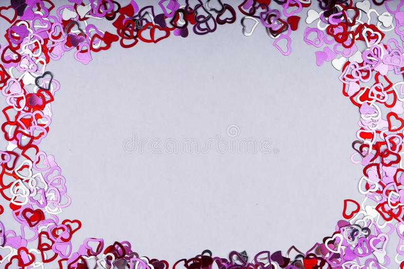 Many Red Heart Shape On White Background , Frame And Space