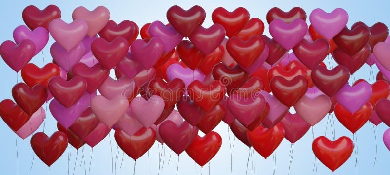 Many red heart shaped balloons. 3D rendered illustration.  vector illustration