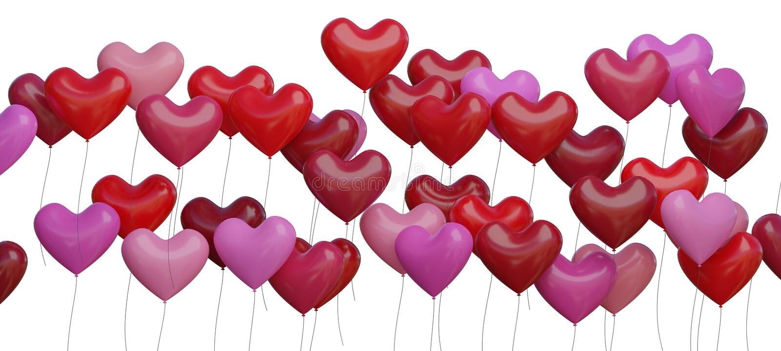 Many red heart shaped balloons isolated on white background. 3D rendered illustration.  stock illustration