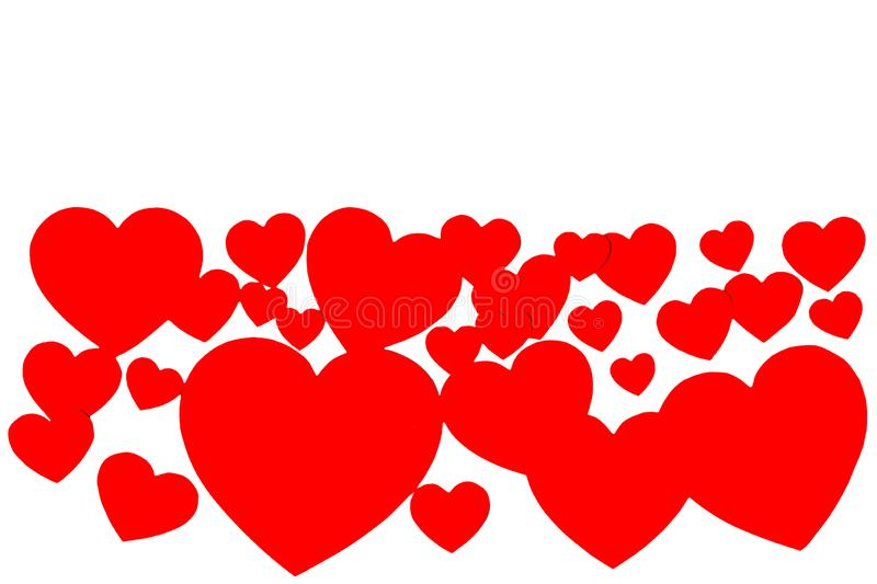 Many red paper hearts in form of decorative frame on white background with copy space. Symbol of love and Valentine`s day. Many red paper hearts in form of vector illustration