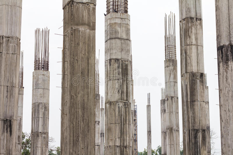 Many reinforced concrete columns stock photo image of for Concrete pillars for foundation