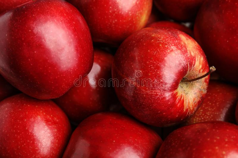 Many ripe juicy red apples as background. Closeup stock photography