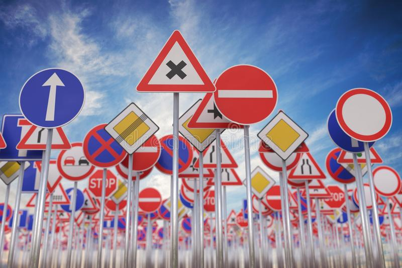 Many road signs against blue sky. 3D rendered illustration.  vector illustration