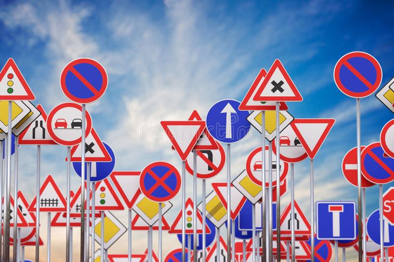 Many road signs against blue sky. 3D rendered illustration royalty free stock photo