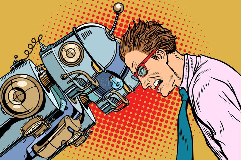 Many robots vs human, humanity and technology. Pop art retro vector vintage illustrations stock illustration