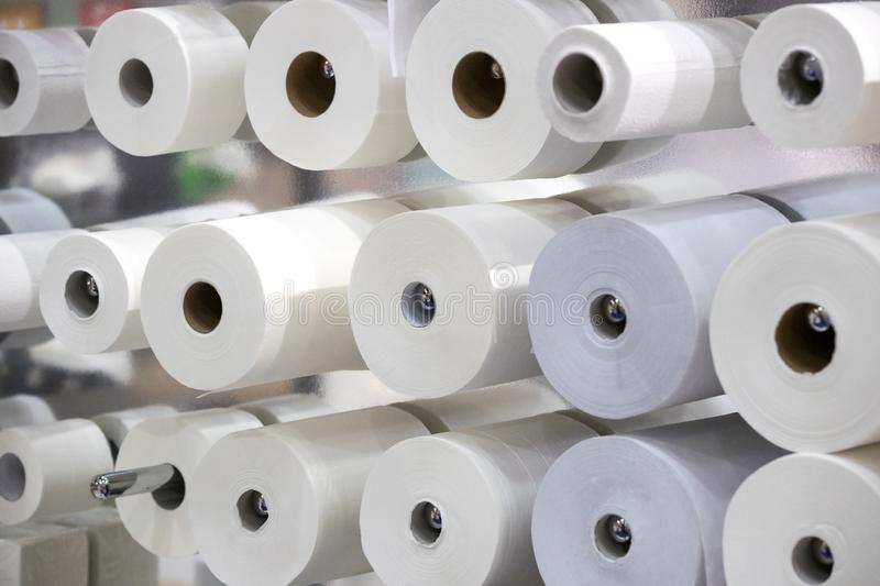 Many rolls of toilet paper stock photos