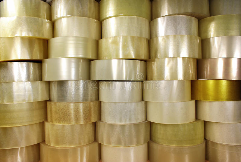 Many rolls of transparent packing sticky tape royalty free stock photos
