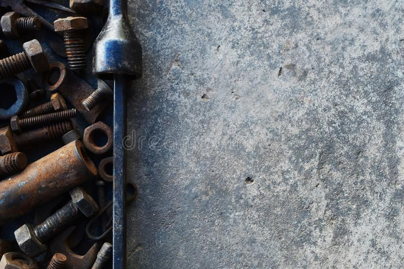 Many rust steel on cement ground. Detail many rust steel on cement ground, abstract, ancient, angle, background, backgrounds, bolt, brown, closeup, concrete royalty free stock photos